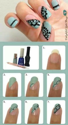 Pretty manicure with step by step instructions. Mint polish and black handpainted design.