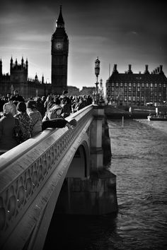 Looking down over Westminster Bridge Black and White Photo375