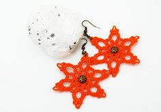 Orange star earrings crochet earrings fresh style gift for
