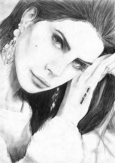 Drawing of Lana del Rey by lloyd marquart