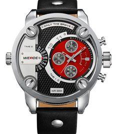 WEIDE Watches Men Luxury Brand Leather Strap Quartz Dual Time Analog Date Sport Military Oversize Men Wristwatches