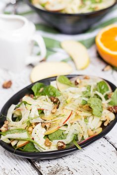 This Apple Fennel Salad also features walnuts and a fantastic orange dressing. Delicious, healthy and really quick to make! | yummyaddiction.com