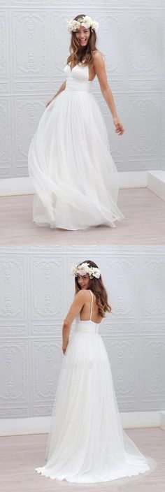 Beach Wedding Dress,2016 wedding dress,Backless bridal gowns,White chiffon wedding dress,V Neck bridal dresses,Spaghetti Straps wedding dress,sexy bridal dress,Seaside wedding dress,
