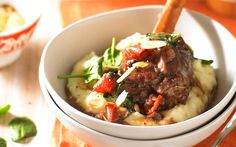 Slow cooked red wine and cranberry lamb shanks
