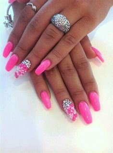CAN U SAY pretty!! Pink acrylic nails with 3D rhinestone nail art! | unas |ongles | #nailart
