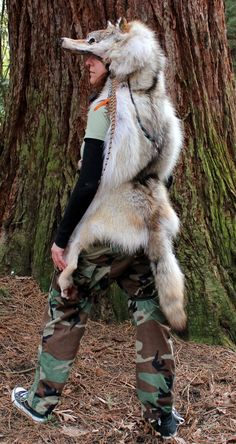 Wolf pelt headdress.