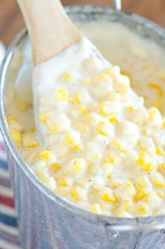 The best ever creamed corn recipe similar to Rudy's BBQ Restaurant.  Made in the slow cooker with just a few ingredients!
