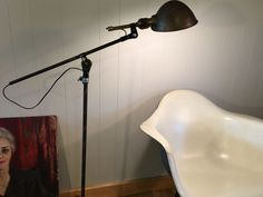 Adjustable Floor Lamp with Antique Helmet Shade