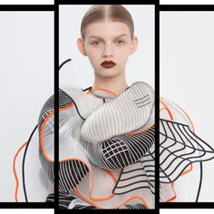 3D printing continues to push fashion envelope so it's no surprise it could create such beautiful ruffled clothing influenced by distorted grid patterns.  One designer who took the reigns of such an idea is Israeli designer Noa Raviv w/her 'Hard Copy Collection'.  Printed + stitched lines + grids were applied onto fabrics to evoke images of corrupted 3D drawings, made using computer modelling software. pic2