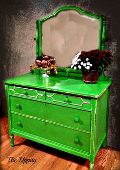 Custom Dresser painted in Annie Sloan Chalk Paint Antibes and Old White by The Uppity