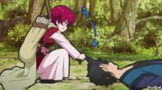 yona and hak - what the hell is she doing?! is she really going to carry his body like this? -.-