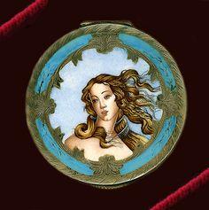 Italian silver enamel compact The Birth of Venus Round_Botticelli
