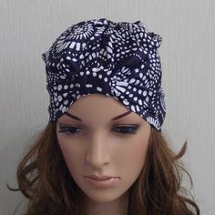Black and White Womens Satin Turban, Fashion Hat, Turban Hat, Summer Hat, Stylish Head Wrap, Large size.  The turban hat will safe you in windy