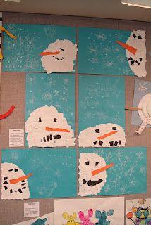 Sneeuwpop hoofd gemaakt van stukjes papier