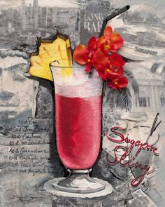 Singapore Sling ml oz) gin 15 ml oz) cherry brandy 120 ml oz) pineapple juice 15 ml oz) lemon or lime juice ml oz) Cointreau ml oz) DOM Benedictine 10 ml oz) grenadine A dash of Angostura Bitters Garnish with a slice of pineapple and cherry. Wine Cocktails, Cocktail Drinks, Alcoholic Drinks, Beverages, Singapore Sling, Cherry Brandy, Colorful Drinks, Poster Prints, Art Prints