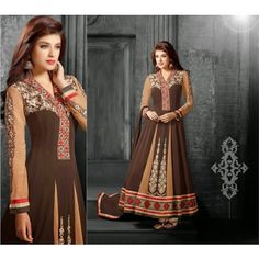 Anarkali style Semi-Stitched Salwar suit of kurta Brown color and salwar of Brown color