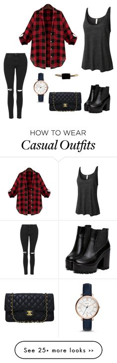 """""""Casual Day"""" by tinaclarke on Polyvore featuring moda, LE3NO, Topshop, LUMO, FOSSIL, Minor Obsessions y Chanel"""