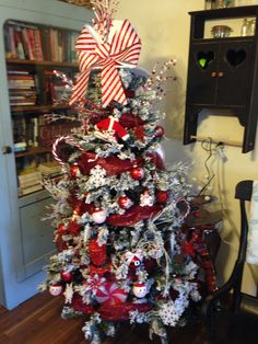 Red and White Christmas Tree.