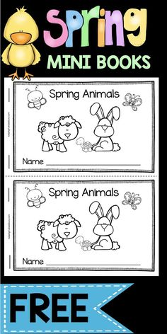 SPRING Emergent Readers FREEBIE - Mini Books - Easter and Spring Animals Literacy Center idea - worksheets - comprehension and fluency practice FREE printable book for kindergarten or pre-k #easter #kindergarten #books #literacycenter #spring