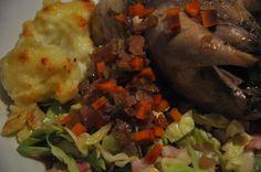 Pot roast partridge with savoy cabbage