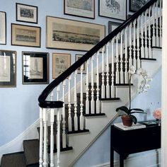 How to hang pictures on the stairs- Miles Redd Elle Decor.