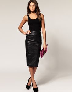 Leather skirt pencil Photo - 8