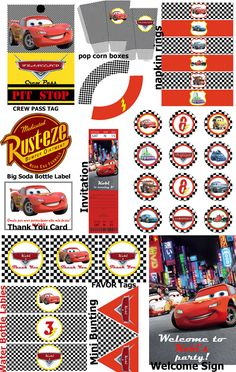 Cars 2 Party Kit - Printable Set Party Kit - Festa stampabile e personalizzabile - PDF. $29.00, via Etsy.