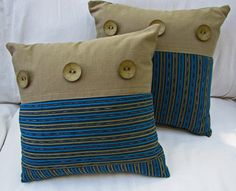 Turquoise Stripe Pillow with Vintage Guatemalan by KerrJonesDesign, $50.00