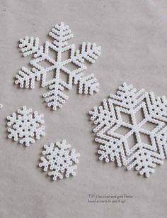 My kids (13, 10, 9) still love perler beads!! Pearler bead snowflake