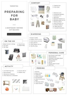 Preparing for Baby: A Montessori-Inspired Gift Registry Preparing for the arrival of a second child is a lot less stressful than the first since you've already begun to realize what things work best for your family and what may be incompatible wit… Baby Registry Essentials, Best Baby Registry, Baby Shower Registry, Baby Registry Items, Baby Registry Must Haves, Baby Registry Checklist, Gift Registry, Newborn Essentials, Baby Items