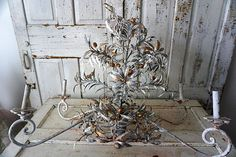Metal olive branch chandelier lighting golden olives / gray gold branches European toleware lg fixture distressed decor anita spero design by anitasperodesign. Explore more products on http://anitasperodesign.etsy.com