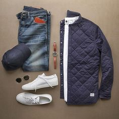 I've been waiting for you. Shirt Jacket: Kemsey Quilted Shirt Denim: Standard Kojima Vintage Wash Hat: Storm Blue Wool T-Shirt: Watch: Timex x Redwing Sunglasses: Wallet: Shoes: Sneakers Mode, Sneakers Fashion, White Sneakers, Mode Masculine, Stylish Men, Men Casual, Smart Casual, Style Masculin, Casual Outfits