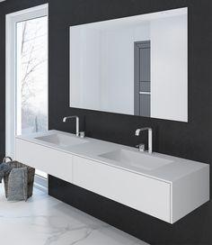 Corian® Doppelwaschtisch - Pure plus 180cm mit zwei rechteckigen Becken mit Unterschrank aus Corian® - HENNEKE SHOP