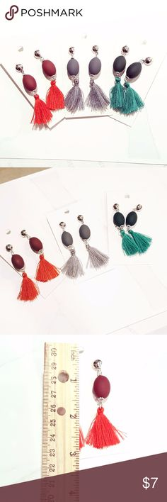 Tassel Drop Earrings Choose from 3 Colors:   **RED   **GREEN   **GRAY ________________ All with Silver Tone Hardware. ///////////////////////// Tassel Dangle Drop Fashion Earrings.  Christmas Holiday Colors   (cb159) cb159 Jewelry Earrings
