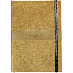 Christian Lacroix Paseo Embossed Notebook - Gold - B5 (€26) ❤ liked on Polyvore featuring home, home decor, stationery, filler, items and metallic