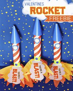 FREE Rocket Favor printable for Valentines: Made these for a class of 24. printed on cardstock at kinkos, they came out bright and crisp. I used tape for everything but the cone (hot glue), and I attatched the flames and cloud (which I added a tab to) before making the rocket. We wrote the to and from on the back of the clouds. I am so happy with this craft!