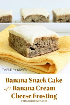 Moist Banana Snack Cake with Banana Cream Cheese Frosting Delicious Cake Recipes, Yummy Cakes, Dessert Recipes, Vegan Recipes, Yummy Food, Banana Treats, Banana Snacks, Ripe Banana Recipe, Banana Recipes