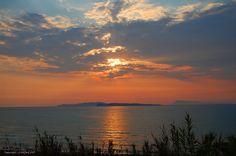 Sunset on de west coast of Corfu, Agios Stefanos, Peloponnese Western Greece, Ionian Island_ Greece