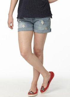 Denim Maternity Shorts in Vintage Wash