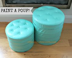 Paint Vinyl Poufs!  CeCe Caldwells Santa Fe Turquiose.  Sealed with Endurance for durability.  Check out how at my post. REDOUXINTERIORS.COM FACEBOOK: REDOUX