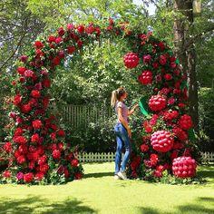 Tree decorations ideas outdoor Ideas for 2019 Wedding Gate, Wedding Entrance, Red Wedding, Floral Wedding, Backdrop Design, Floral Backdrop, Raspberry Wedding, Red And White Weddings, Garden Wedding Decorations