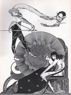 Illustration for the half-title of Goethe's 'Faust', by Harry Clarke.
