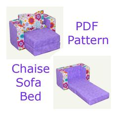 American Girl Chaise Sofa Bed PDF pattern and tutorial Fits up to 18 inch size doll