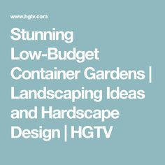 Stunning Low-Budget Container Gardens   Landscaping Ideas and Hardscape Design   HGTV