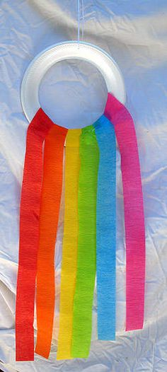 "Rainbow-Noah  1 foam paper plate   Paper streamers or wide ribbon in rainbow colors-red, orange, yellow, green, blue and purple  Scissors  White craft glue  Piece of ribbon for hanging  Cut a large circle out of the center of the paper plate leaving just the rim of the plate.  Cut 1 streamer or ribbon of each color about 18"" long.  Glue each streamer to bottom half of the circle.  Poke a small hole at the top of  circle & thread a piece of ribbon thru it. Tie a loop in the ribbon & hang up…"