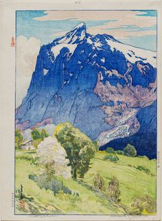 Wetterhorn. Yoshida Hiroshi. Japanese. Boston Museum of Fine Arts. 1925. Woodblock print, ink and color on paper. This print is from the European Series. Hiroshi is regarded as one of the greatest arts of the shin-hanga style. He traveled widely and was thus known for his images of non-Japanese subjects done in traditional Japanese woodblock style.