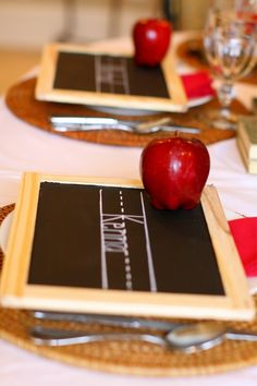 Chalkboard Placecards with Rattan Placemats and Apples (Project Nursery Blog: First Day of School Party)