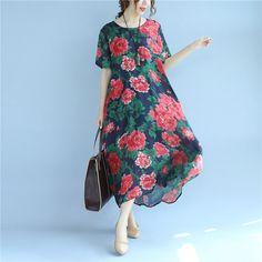 Printing Silk Retro Summer Women Loose Short Sleeves Green Dress
