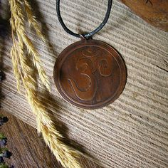 Rustic Etched Round Copper  Om Pendant  Handmade by RusticSpoonful, $24.00 #om #healing #copper #copperjewelry #jewelry #pendant #handmade