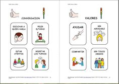 """""""Libro de normas, hábitos y fórmulas de cortesía"""" adaptado con pictogramas."""